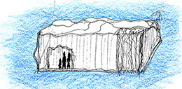 Sketch 4: iceberg with waterfall